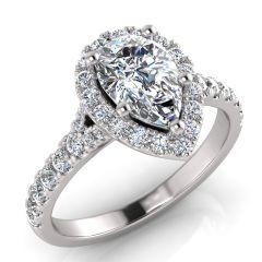 PEAR SHAPE & ROUND DIAMOND HALO AMAZING RING