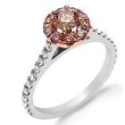 Argyle Pink Diamond & White Round Brilliant Cut Diamond Engagement Ring