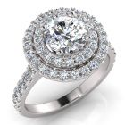 ROUND & ROUND DOUBLE HALO WOW RING