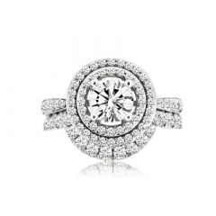ROUND DIAMOND HALO RING SET